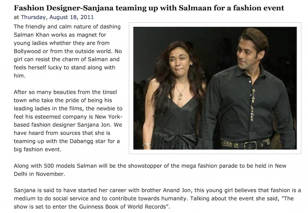 Fashion Designer-Sanjana teaming up wit...for a fashion event ~ Bollywood Gossip