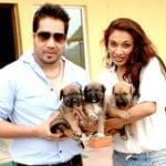 PHOTO SHOOT FOR PAWS FOR A CAUSE SHOW MIKA SINGH AND SANJANA JON WITH PUPPIES